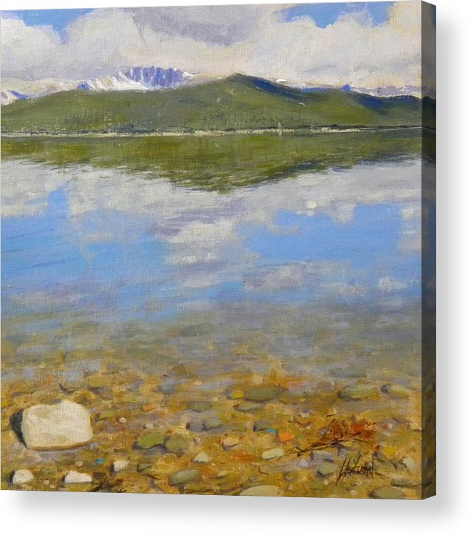 Rocky Mountains Acrylic Print featuring the painting Turquoise Lake by Greg Clibon