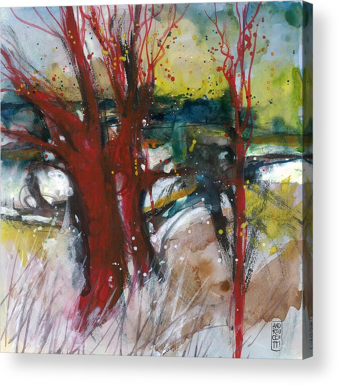 Landscape Acrylic Print featuring the painting Tuscany landscape with red tree by Alessandro Andreuccetti