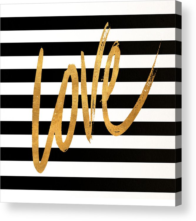 Valentines Acrylic Print featuring the digital art Valentines Stripes Iv by South Social Graphics