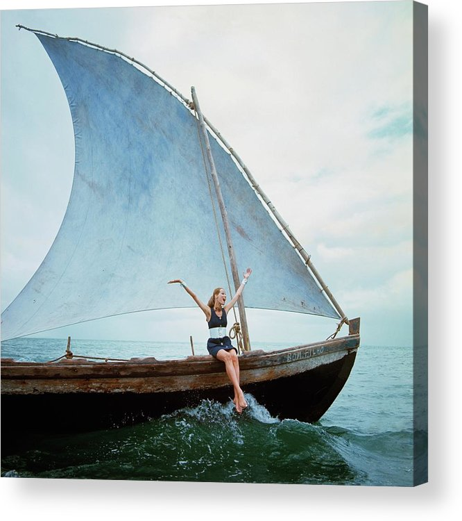 Boat Acrylic Print featuring the photograph Veruschka Von Lehndorff Sitting On Edge by Franco Rubartelli