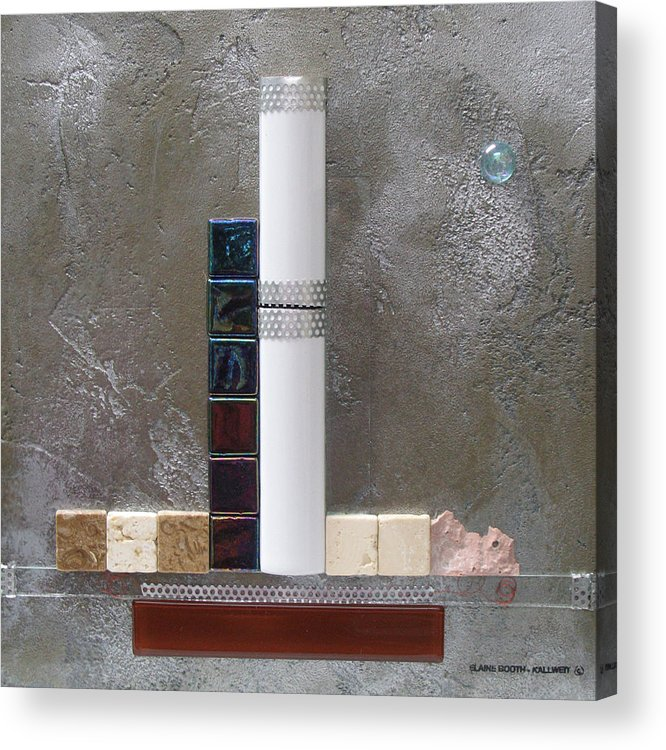 Assemblage Acrylic Print featuring the relief White Tower by Elaine Booth-Kallweit
