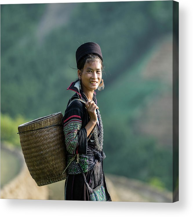 Farm Worker Acrylic Print featuring the photograph Woman Of Black Hmong Hill Tribe Next To by Martin Puddy