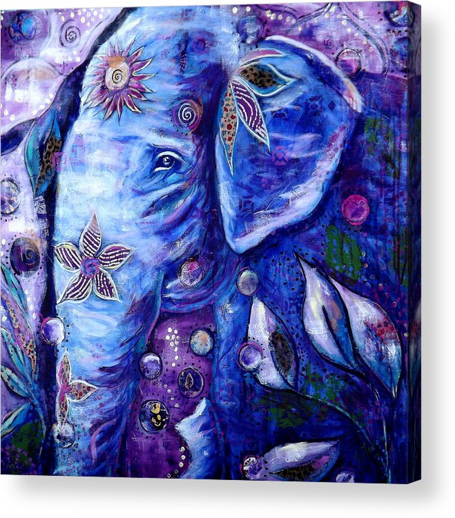 Elephant Painting Acrylic Print featuring the painting You Are Love by Goddess Rockstar