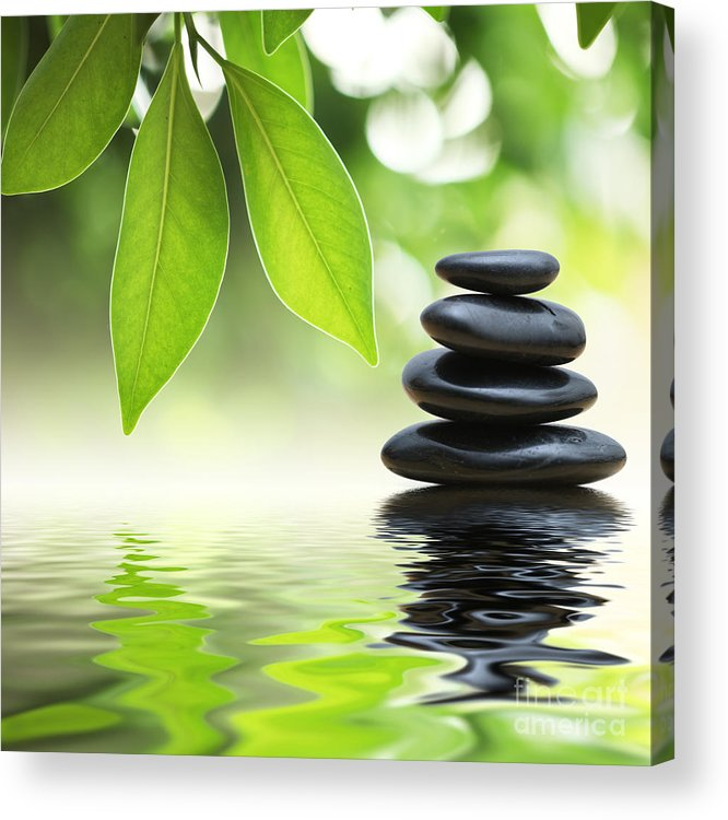 Zen Stones Pyramid On Water Surface Acrylic Print By Konstantin