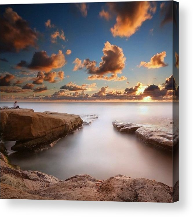 Acrylic Print featuring the photograph Long Exposure Sunset At A San Diego by Larry Marshall