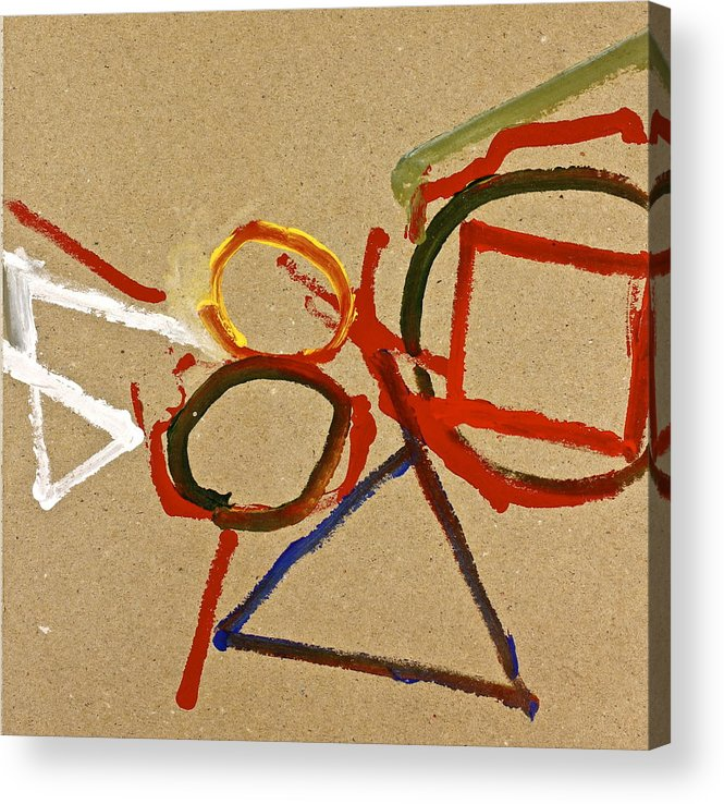 Abstract Paintings Acrylic Print featuring the painting A Wedgie In Balance Or Not- Lesson 2 by Cliff Spohn