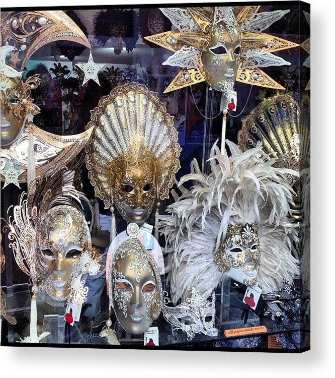 Venice Acrylic Print featuring the photograph Masks in Venice Italy by Irina Moskalev