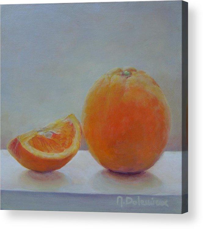Acrylic Acrylic Print featuring the painting Orange un Quart by Muriel Dolemieux