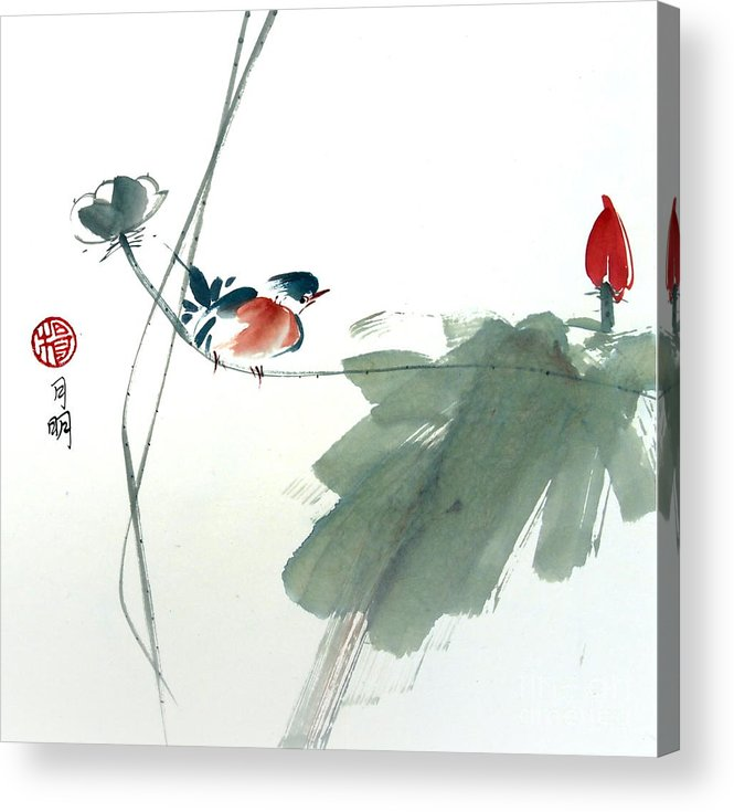 Flora Acrylic Print featuring the painting Spring Melody by Ming Yeung