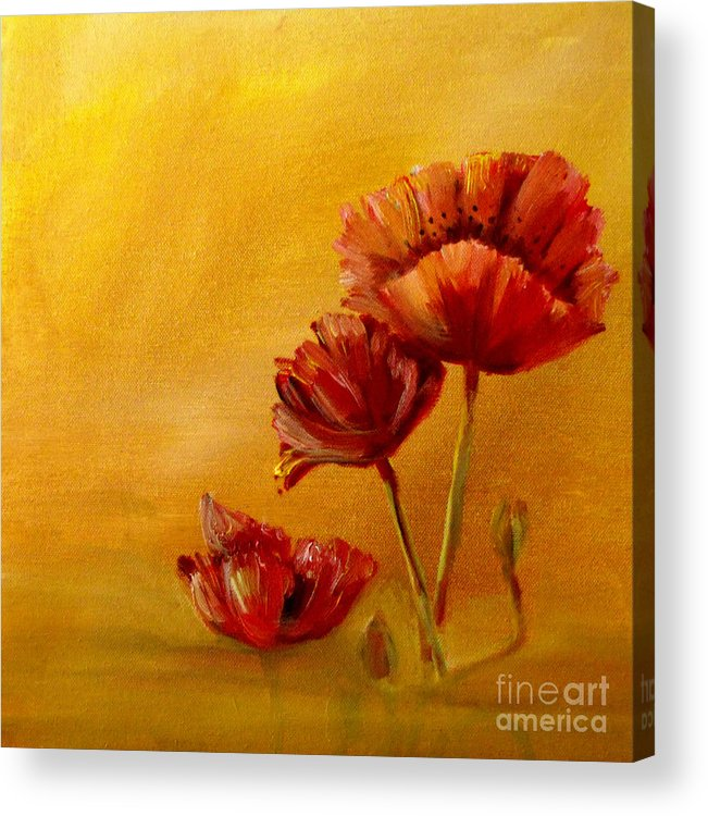 Oil Acrylic Print featuring the painting Stylish Poppies by Patricia Halstead
