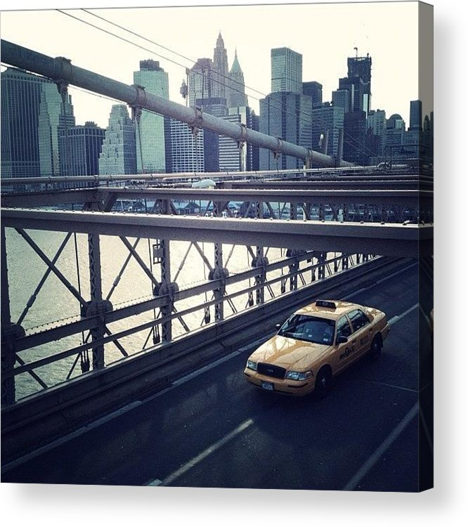Summer Acrylic Print featuring the photograph Taxi On Bridge by Randy Lemoine