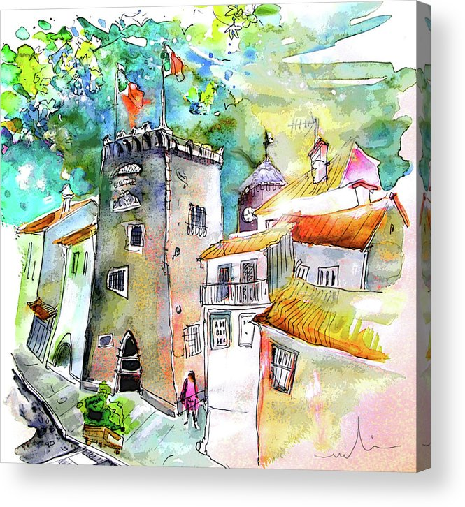 Portugal Acrylic Print featuring the painting Tower in Ponte de Lima in Portugal by Miki De Goodaboom