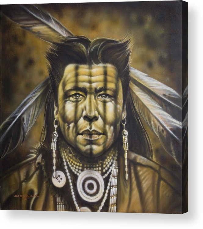 Native American Acrylic Print featuring the painting Warpath by Timothy Scoggins