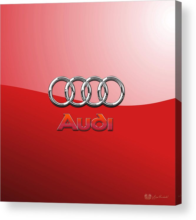 Wheels Of Fortune By Serge Averbukh Acrylic Print featuring the photograph Audi - 3D Badge on Red by Serge Averbukh