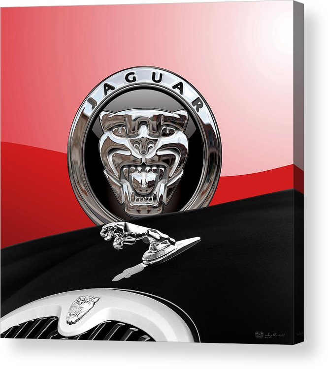 'auto Badges' Collection By Serge Averbukh Acrylic Print featuring the photograph Black Jaguar - Hood Ornaments and 3 D Badge on Red by Serge Averbukh