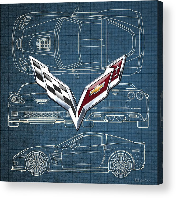 �wheels Of Fortune� By Serge Averbukh Acrylic Print featuring the photograph Chevrolet Corvette 3 D Badge over Corvette C 6 Z R 1 Blueprint by Serge Averbukh