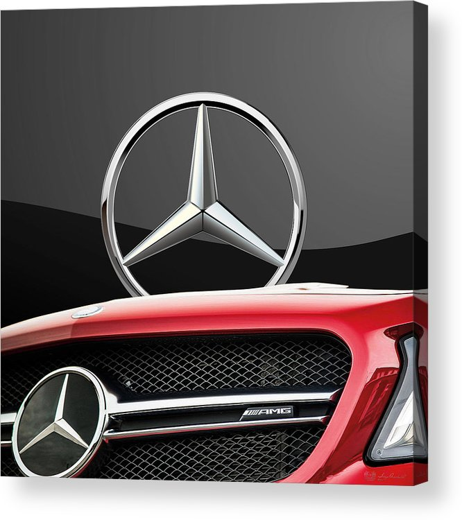 'auto Badges' By Serge Averbukh Acrylic Print featuring the photograph Red Mercedes - Front Grill Ornament and 3 D Badge on Black by Serge Averbukh