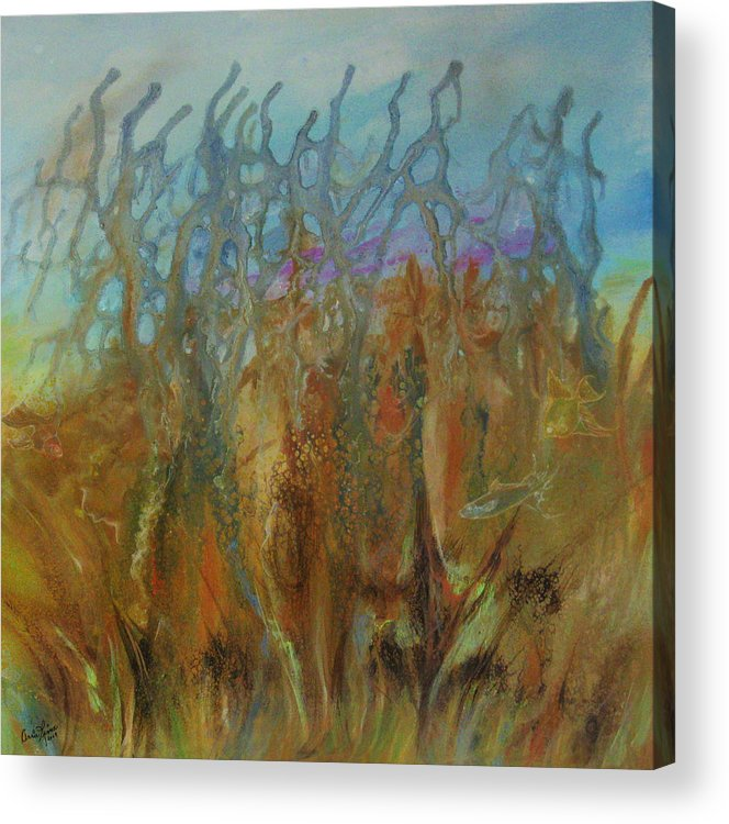 Contemporary Sea Acrylic Print featuring the painting Tresors Des Mers by Annie Rioux