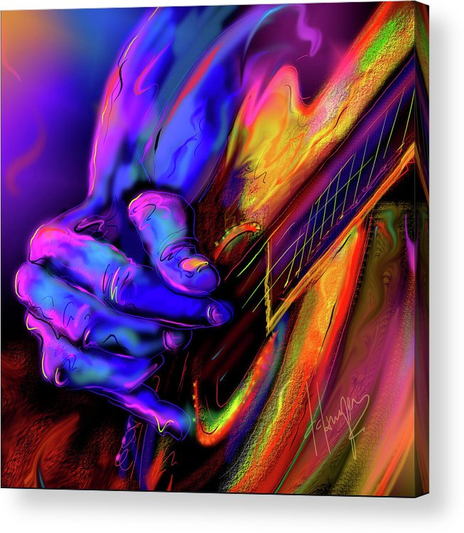 Guitar Acrylic Print featuring the painting Unplugged by DC Langer