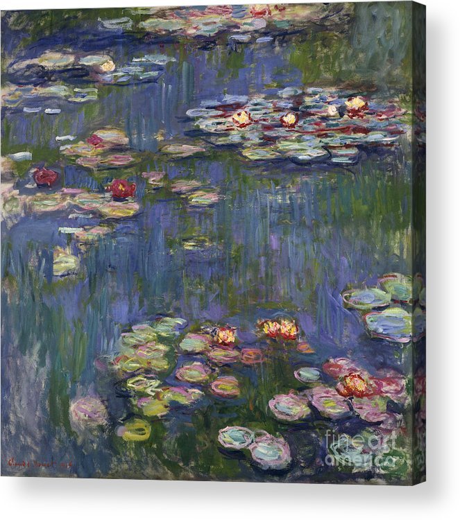 Monet Acrylic Print featuring the painting Water Lilies, 1916 by Claude Monet