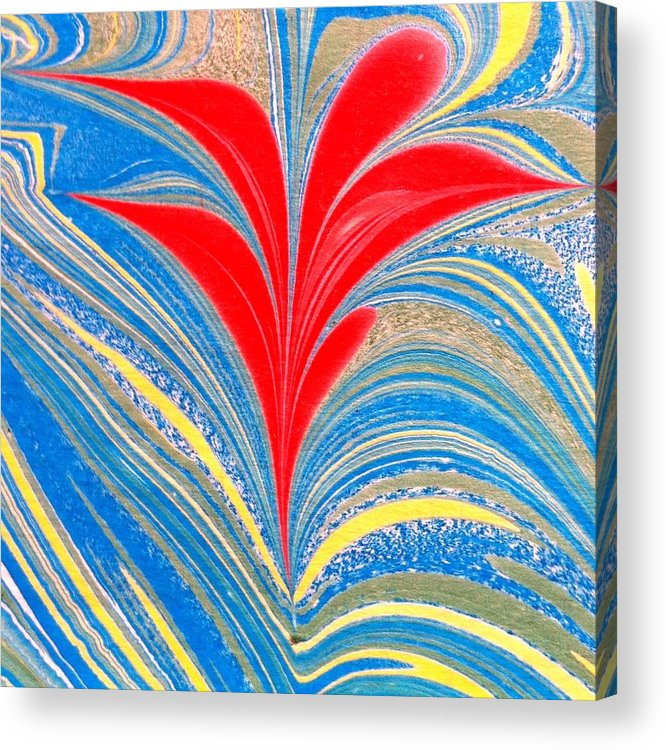 Flower Acrylic Print featuring the painting Water Marbling Art, Ebru by Dilan C