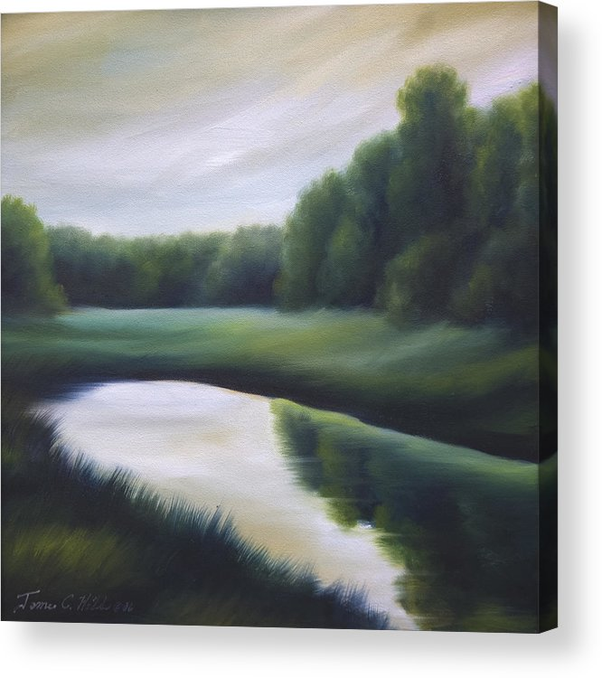 Nature; Lake; Sunset; Sunrise; Serene; Forest; Trees; Water; Ripples; Clearing; Lagoon; James Christopher Hill; Jameshillgallery.com; Foliage; Sky; Realism; Oils; Green; Tree Acrylic Print featuring the painting A Day In The Life 3 by James Christopher Hill