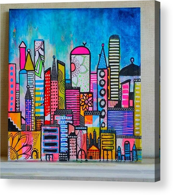 Shine Acrylic Print featuring the photograph A New 12 X12 #cityscape #collage by Robin Mead