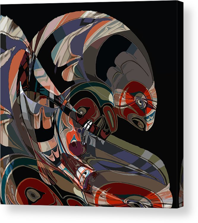 Northwest Native American Acrylic Print featuring the digital art Angler for Lunch by John Helgeson