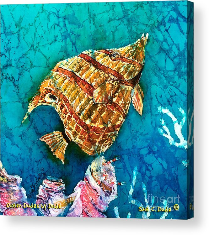 Beaked Butterflyfish Acrylic Print featuring the painting Ascending by Sue Duda