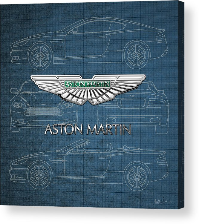 Wheels Of Fortune By Serge Averbukh Acrylic Print featuring the photograph Aston Martin 3 D Badge over Aston Martin D B 9 Blueprint by Serge Averbukh