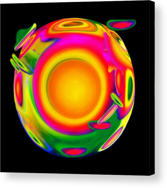 Sphere Acrylic Print featuring the mixed media Awakening by Jacqueline Migell