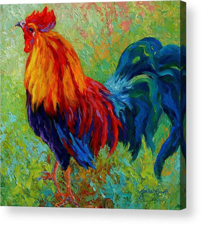 Rooster Acrylic Print featuring the painting Band Of Gold by Marion Rose