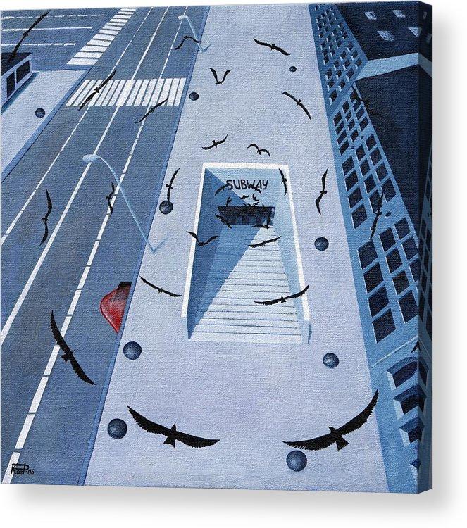 Birds Apocalypse Urban City Ominous Acrylic Print featuring the painting birds of apocalypse IV by Poul Costinsky