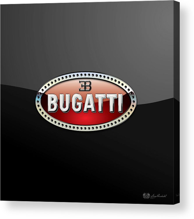 �wheels Of Fortune� Collection By Serge Averbukh Acrylic Print featuring the photograph Bugatti - 3 D Badge on Black by Serge Averbukh