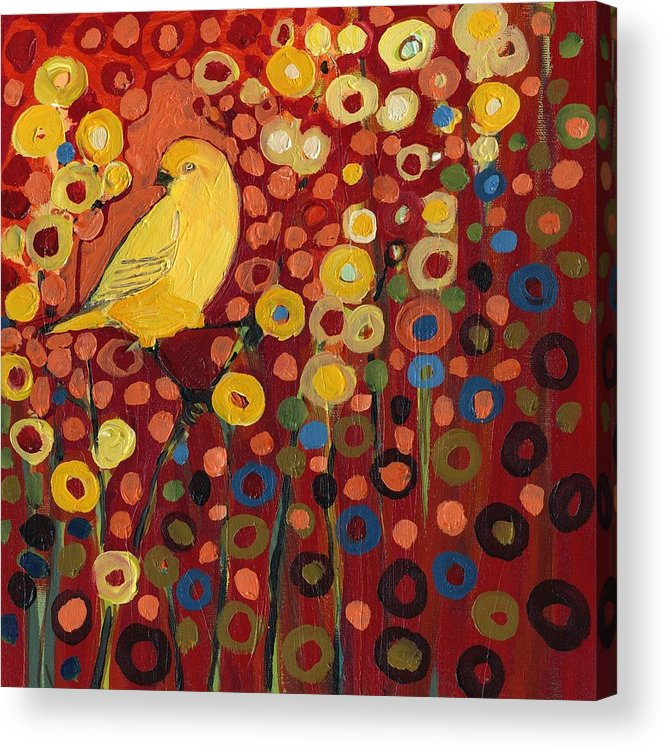 Canary Acrylic Print featuring the painting Canary in Red by Jennifer Lommers