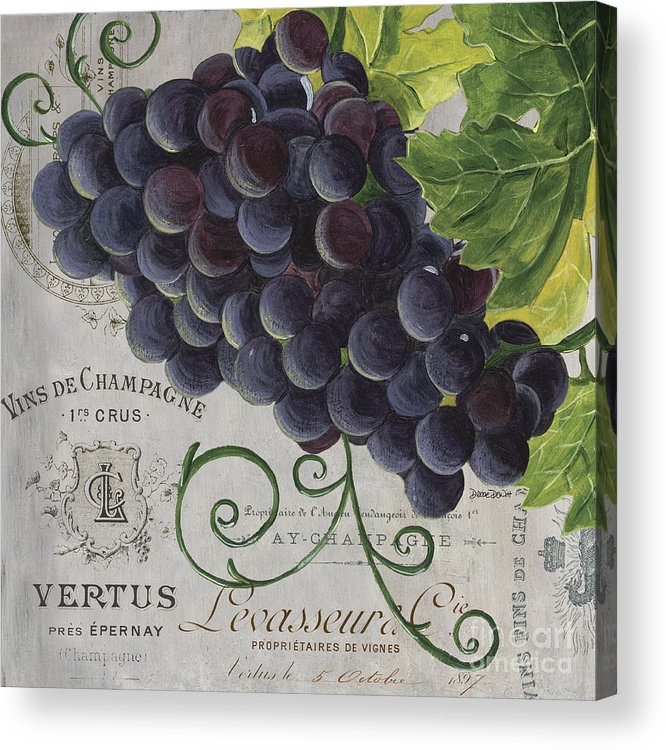Grapes Acrylic Print featuring the painting Vins de Champagne 2 by Debbie DeWitt