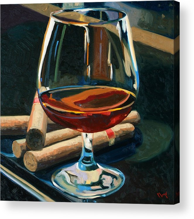 Hampden-sydney College Acrylic Print featuring the painting Cigars and Brandy by Christopher Mize