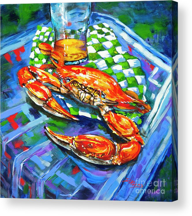Louisiana Seafood Acrylic Print featuring the painting Claw Daddy by Dianne Parks
