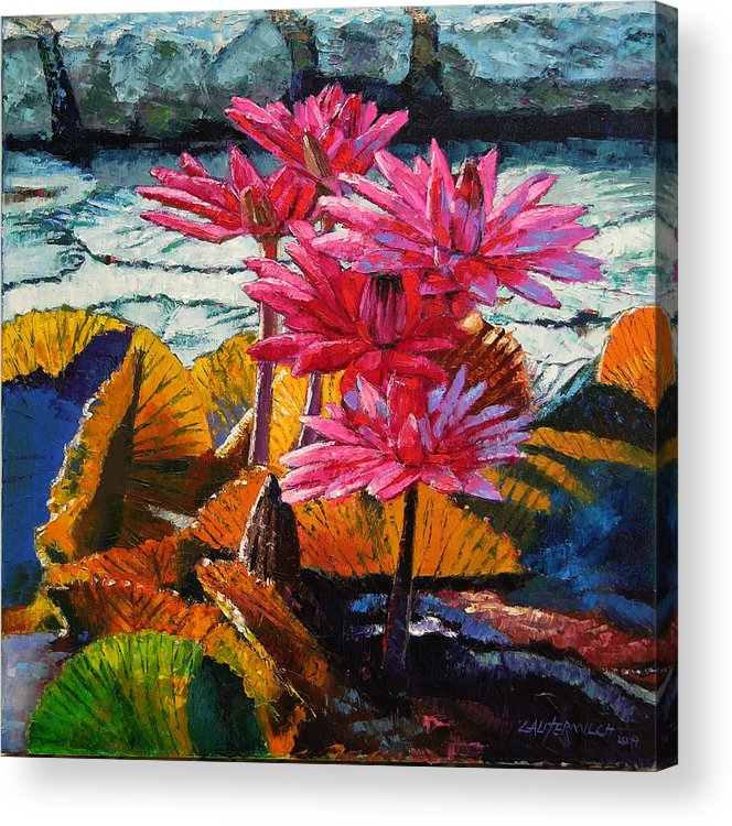 Water Lilies Acrylic Print featuring the painting Color Texture and Light by John Lautermilch