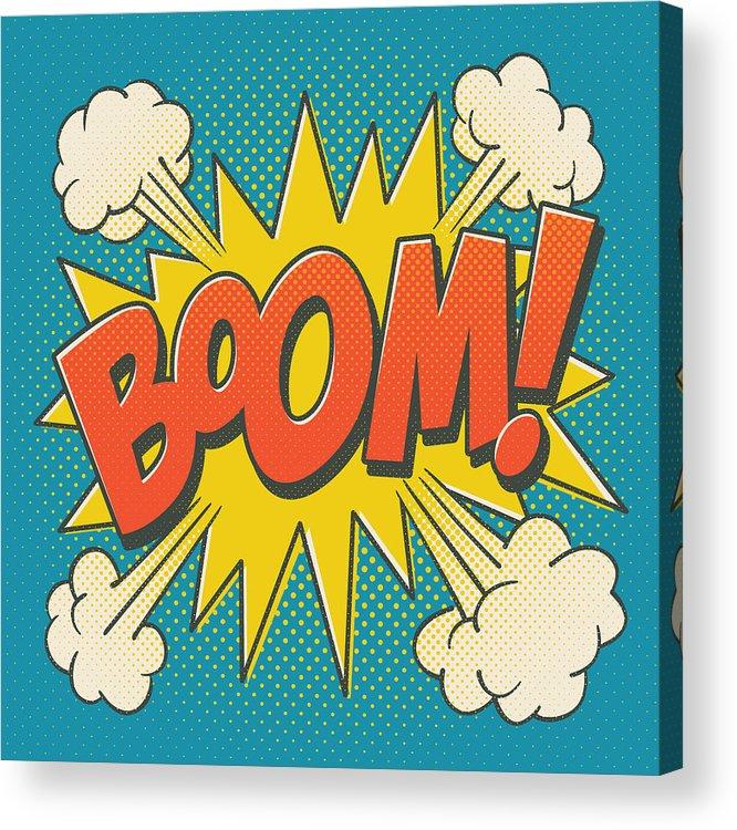 Comic Acrylic Print featuring the digital art Comic Boom on Blue by Mitch Frey