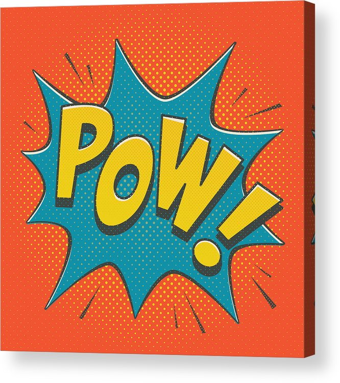 Comic Acrylic Print featuring the digital art Comic Pow by Mitch Frey