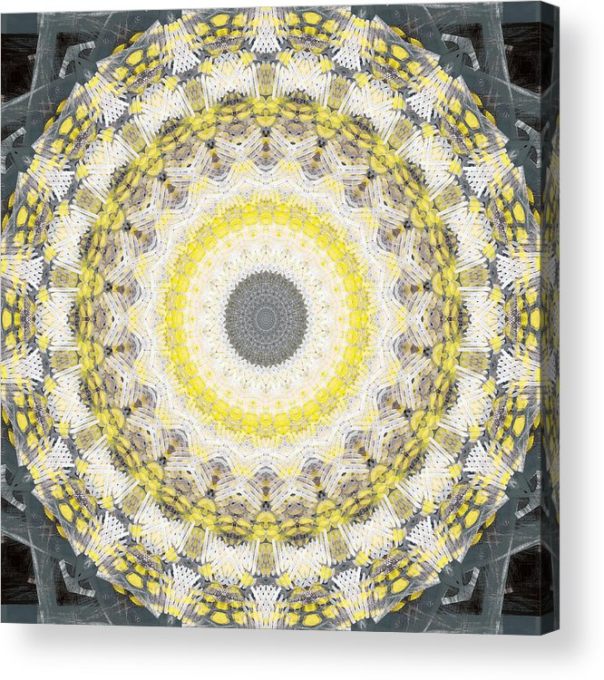 Concrete Acrylic Print featuring the painting Concrete and Yellow Mandala- Abstract Art by Linda Woods by Linda Woods