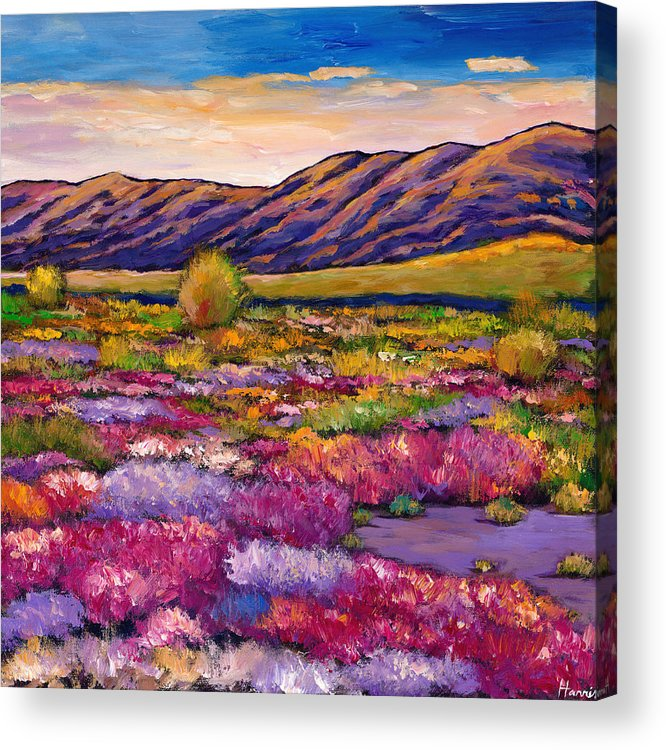 Arizona Acrylic Print featuring the painting Desert in Bloom by Johnathan Harris