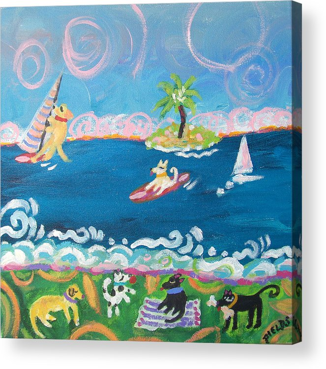 Dogs Acrylic Print featuring the painting Dog Day at the Beach by Karen Fields