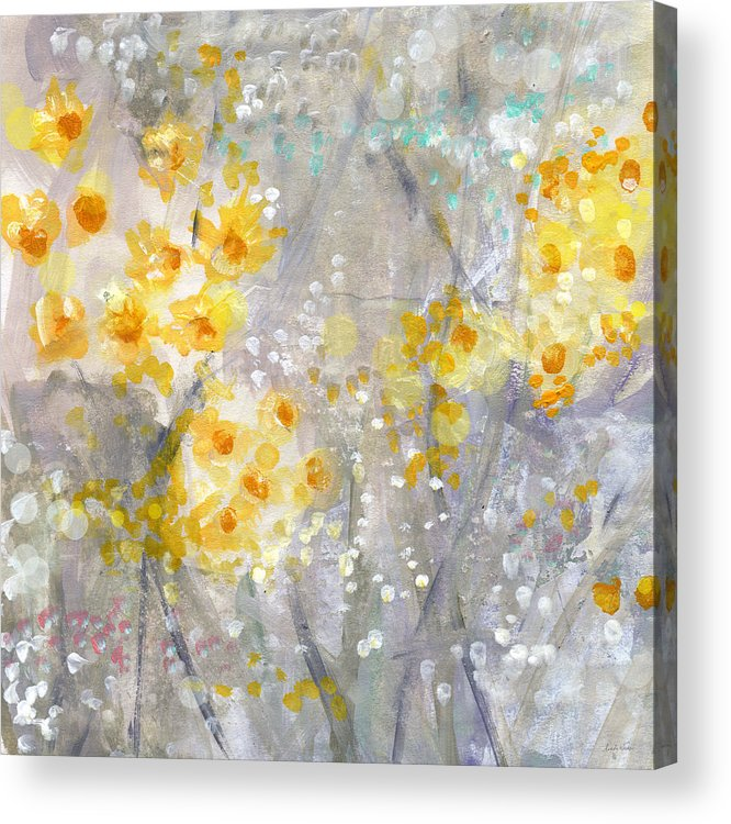 Flower Painting Acrylic Print featuring the painting Dusty Miller- Abstract Floral Painting by Linda Woods