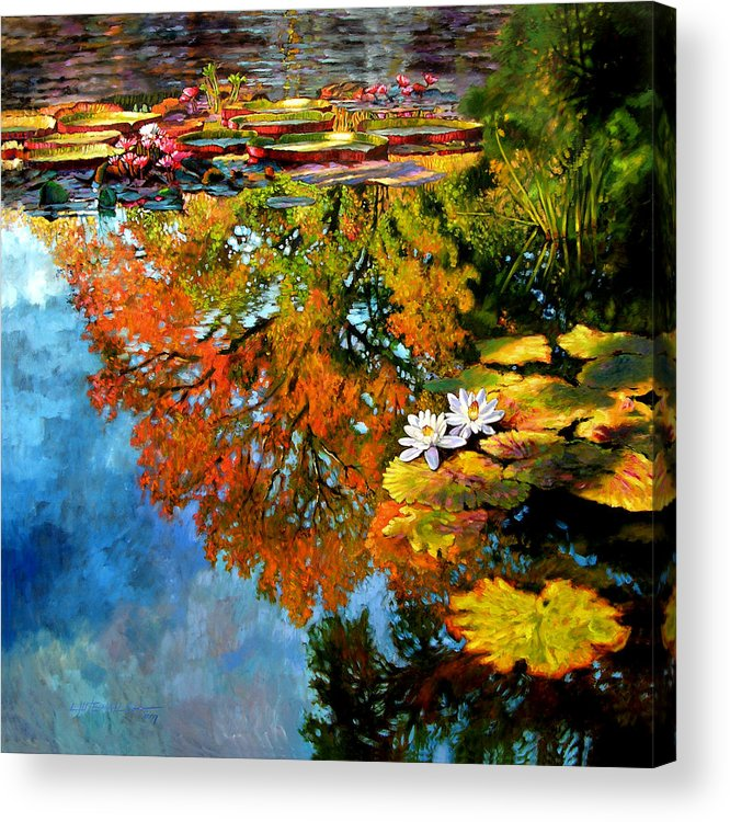 Landscape Acrylic Print featuring the painting Early Morning Fall Colors by John Lautermilch