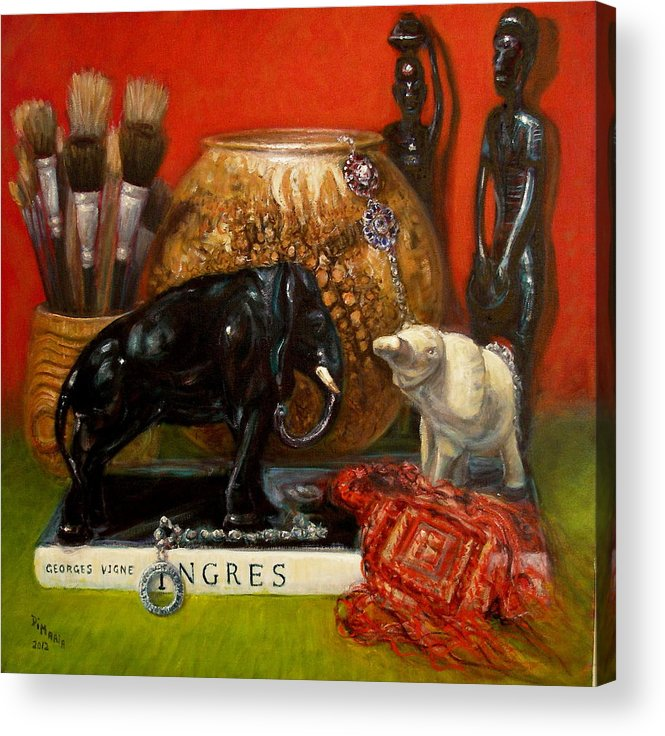 Realism Acrylic Print featuring the painting Elephants and Ingres by Donelli DiMaria
