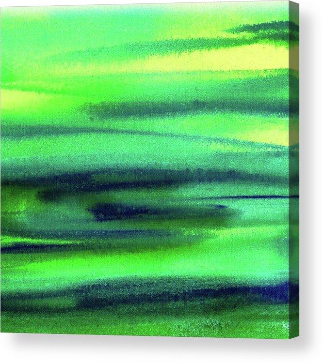 Emerald Acrylic Print featuring the painting Emerald Flow Abstract Painting by Irina Sztukowski