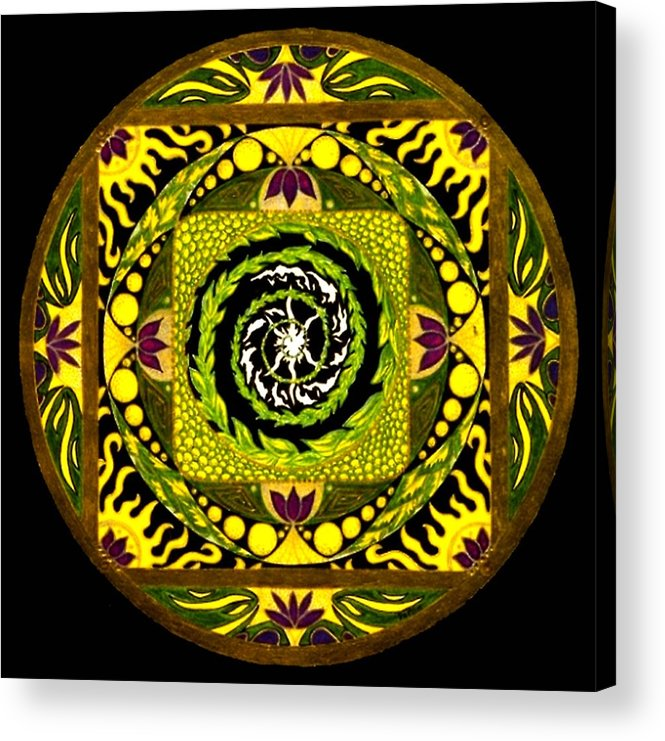 Mandala Acrylic Print featuring the painting Enter The Garden by Pam Ellis