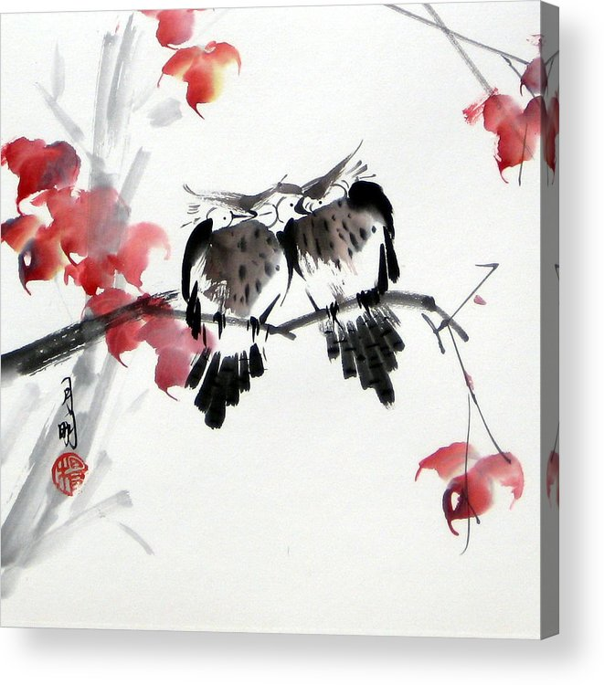 Chinese Painting Acrylic Print featuring the painting Envoy of fall by Ming Yeung